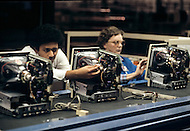 Cupertino, California, 25th, January, 1984. Apple Factory, Macintosch computer assembly line.