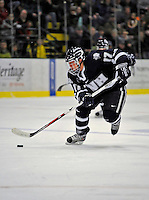 1 February 2008: University of New Hampshire Wildcats' forward Thomas Fortney, a Junior from Webster Groves, MO, leads a rush up ice against the University of Vermont Catamounts at Gutterson Fieldhouse in Burlington, Vermont. The seventh-ranked Wildcats defeated the Catamounts 5-1in front of a sellout crowd of 4,003...Mandatory Photo Credit: Ed Wolfstein Photo