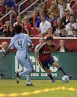 Real Salt Lake forward Fabian Espindola (16) down the wing. Real Salt Lake tied the Colorado Rockies, 1-1, at Rio Tinto Stadium on June 6, 2009.