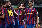 Football Season 2009-2010. Barcelona's player Zlatan Ibrahimovic celebrating Pedro Rodriguez second goal during the Spanish first division soccer match at Camp Nou stadium in Barcelona November 07, 2009.