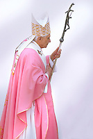 Pope Benedict XVI celebrates Mass during his visit to God Our Merciful Father Church on the outskirts of Rome .. March 26, 2006. .