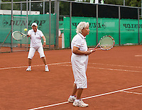 Netherlands, Amstelveen, August 18, 2015, Tennis,  National Veteran Championships, NVK, TV de Kegel,  Lady's doubles 80+ years,  Bea Nerden and Wil Sevenstern-van der Ree<br /> Photo: Tennisimages/Henk Koster