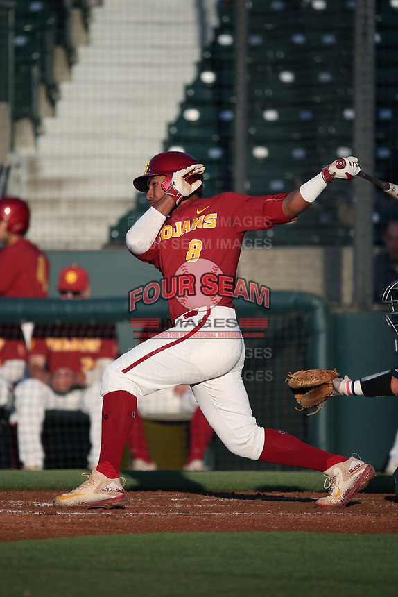 Adalberto Carrillo (8) of the Southern California Trojans bats against the UC Irvine Anteaters at Dedeaux Field on April 18, 2017 in Los Angeles, California. UC Irvine defeated Southern California, 14-3. (Larry Goren/Four Seam Images)