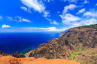 The Lolo Vista at the end of the Nualolo Trail offers breathtaking views of the Napali Coast and deep blue Pacific Ocean below; Koke'e State Park, Kaua'i.