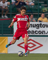 Chicago Fire defender Josip Mikulic (23) passes the ball. In a Third Round U.S. Open Cup match, the Chicago Fire defeated the Rochester Rhinos, 1-0, at Sahlens Stadium on June 28, 2011.
