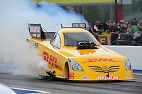 Sept. 18, 2011; Concord, NC, USA: NHRA funny car driver Jeff Arend during the O'Reilly Auto Parts Nationals at zMax Dragway. Mandatory Credit: Mark J. Rebilas-