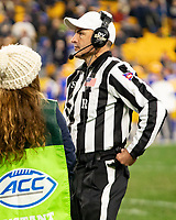 ACC football referee Duane Heydt. The Pitt Panthers defeated the North Carolina Tarheels 34-27 in overtime in the football game on November 14, 2019 at Heinz Field, Pittsburgh, Pennsylvania.
