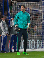 Goalkeeper Asmir Begovic of Chelsea warms up during the UEFA Champions League match between Chelsea and Maccabi Tel Aviv at Stamford Bridge, London, England on 16 September 2015. Photo by Andy Rowland.