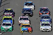 #2: Brad Keselowski, Team Penske, Ford Mustang MoneyLion, #18: Kyle Busch, Joe Gibbs Racing, Toyota Camry M&M's and #10: Aric Almirola, Stewart-Haas Racing, Ford Mustang Pure Farmland