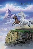 Interlitho, FANTASY, paintings, 2 horses, rocks, KL, KL3296/1,#fantasy# illustrations, pinturas