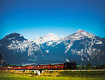 Oesterreich, Tirol, Zillertal: Zillertalbahn vor den Kitzbueheler Alpen | Austria, Tyrol, Ziller Valley: Ziller Valley steam train and Kitzbuehel Alps