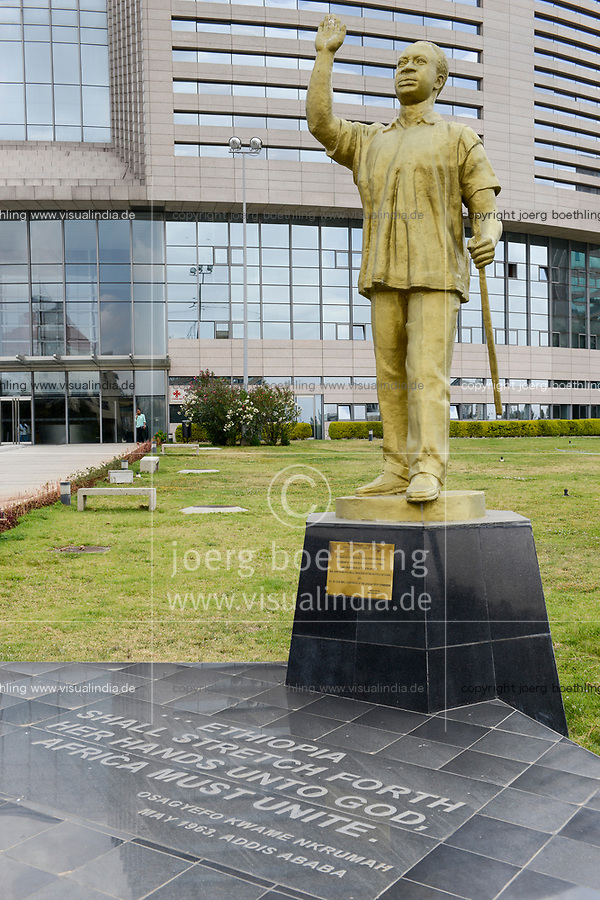 ETHIOPIA Addis Ababa, AU African Union new building, constructed and gifted by China, statue of former ghanian president Osagyefo Kwame Nkrumah / AETHIOPIEN, Addis Abeba, neues Gebaeude der AU Afrikanischen Union, gebaut und geschenkt von China