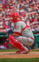 24 May 2015: Philadelphia Phillies catcher Cameron Rupp glances back to the dugout for a sign during game action against the Washington Nationals at Nationals Park in Washington, DC. The Nationals defeated the Phillies 4-1 to take the rubber game of their 3-game weekend series. Mandatory Credit: Ed Wolfstein Photo *** RAW (NEF) Image File Available ***