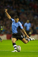 Josh Matavesi of the Flying Fijians takes a conversion attempt during the QBE International between England and Fiji at Twickenham on Saturday 10th November 2012 (Photo by Rob Munro)