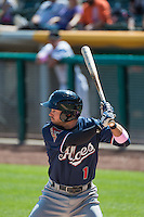 Mike Freeman (1) of the Reno Aces at bat against the Salt Lake Bees in Pacific Coast League action at Smith's Ballpark on May 10, 2015 in Salt Lake City, Utah.  Reno defeated Salt Lake 11-2 in Game Two of the double-header. (Stephen Smith/Four Seam Images)