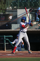 Lawrence Butler (4) of the Stockton Ports bats against the Inland Empire 66ers at San Manuel Stadium on June 27 2021 in San Bernardino, California. (Larry Goren/Four Seam Images)