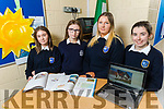 Presentation Tralee students, Amelia Barron, Clodagh Houlihan, Caitlin Quinn and Emma Bellchambers at the school on Tuesday, who are going forward to the national finals with their project which has a first prize of funding for their Solar Panels for the school.