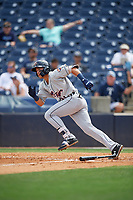 Lakeland Flying Tigers Dylan Rosa (21) hits an RBI double during a Florida State League game against the Tampa Tarpons on April 7, 2019 at George M. Steinbrenner Field in Tampa, Florida.  Tampa defeated Lakeland 3-2.  (Mike Janes/Four Seam Images)