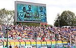 10.08.2019, Friedrich-Jahn-Stadion, Berlin, GER, DFB Pokal 1. Runde  Viktoria 1889 vs. DSC Arminia Bielefelg, im Bild Bieleflder-Fanblock<br /> <br /> <br />      <br /> Foto © nordphoto / Engler