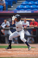 Brevard County Manatees center fielder Johnny Davis (8) at bat during a game against the St. Lucie Mets on April 17, 2016 at Tradition Field in Port St. Lucie, Florida.  Brevard County defeated St. Lucie 13-0.  (Mike Janes/Four Seam Images)