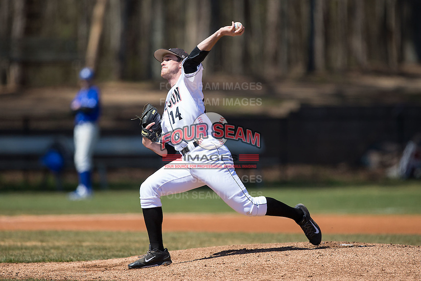 Davidson Wildcats starting pitcher Rob Bain (14) in action against the Saint Louis Billikens at Wilson Field on March 28, 2015 in Davidson, North Carolina. (Brian Westerholt/Four Seam Images)