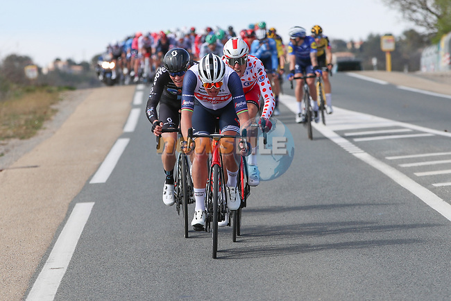 Polka Dot Jersey Anthony Perez (FRA) Cofidis, British Champion Ben Swift (GBR) Ineos Grenadiers and Casper Pedersen (DEN) Team DSM in the breakaway during Stage 6 of Paris-Nice 2021, running 202.5km from Brignoles to Biot, France. 12th March 2021.<br /> Picture: ASO/Fabien Boukla | Cyclefile<br /> <br /> All photos usage must carry mandatory copyright credit (© Cyclefile | ASO/Fabien Boukla)