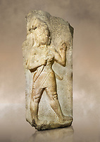 Photo of Relief of God of War. Limestone, Kings Gate, Hattusa ( Bogazkoy ). 14th - 13th Century BC. Anatolian Civilisations Museum, Ankara, Turkey.<br /> <br /> The warrior depicted in high relief is dressed in a decorated skirt. The relief takes place on the interior part of the King's gate facing city, to the east of the city walls. He carries a crescent-handled short sword in his belt. The relief is identified as god depiction since the horns on the headdress are the indication of a god.<br /> <br /> Against a brown art background.