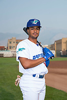 Ogden Raptors outfielder Daniel Robinson (50) poses for a photo prior to a Pioneer League game against the Great Falls Voyagers at Lindquist Field on August 23, 2018 in Ogden, Utah. The Ogden Raptors defeated the Great Falls Voyagers by a score of 8-7. (Zachary Lucy/Four Seam Images)