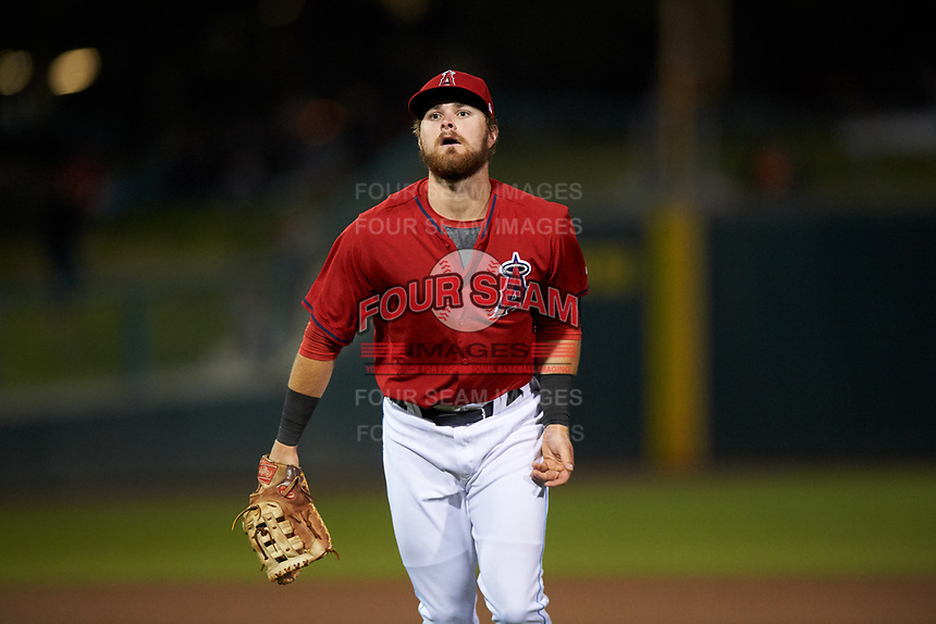Inland Empire 66ers first baseman Jared Walsh (21) during a California League game against the Lancaster JetHawks at San Manuel Stadium on May 18, 2018 in San Bernardino, California. Lancaster defeated Inland Empire 5-3. (Zachary Lucy/Four Seam Images)