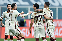 Henrikh Mkhitaryan of AS Roma celebrates with team mates after scoring a goal during the Serie A football match between Genoa CFC and AS Roma at Marassi Stadium in Genova (Italy), November 11th, 2020. Photo Image Sport / Insidefoto