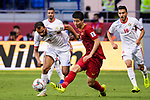 Do Duy Manh of Vietnam (C) fights for the ball with Baha' Seif of Jordan (L) during the AFC Asian Cup UAE 2019 Round of 16 match between Jordan (JOR) and Vietnam (VIE) at Al Maktoum Stadium on 20 January 2019 in Dubai, United Arab Emirates. Photo by Marcio Rodrigo Machado / Power Sport Images