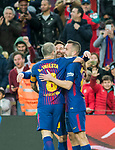 Lionel Andres Messi (C) of FC Barcelona celebrates with teammates Andres Iniesta Lujan (L) and Jordi Alba Ramos of FC Barcelona during the La Liga 2017-18 match between FC Barcelona and Levante UD at Camp Nou on 07 January 2018 in Barcelona, Spain. Photo by Vicens Gimenez / Power Sport Images