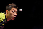 Xin Xu of China vs Yuto Muramatsu of Japan at their Men's Singles Quarter Final match during the Seamaster Qatar 2016 ITTF World Tour Grand Finals at the Ali Bin Hamad Al Attiya Arena on 10 December 2016, in Doha, Qatar. Photo by Victor Fraile / Power Sport Images