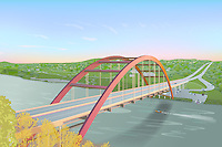Boating on Lake Austin under the massive architecture of the 360 Bridge - Pennybacker Bridge, as boats are launching at the Loop 360 public boat ramp. The Loop 360 boat ramp is located below the southern end of Pennybacker Bridge over Lake Austin. Illustration graphic.