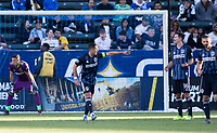 """CARSON, CA - FEBRUARY 15: Javier """"Chicharito"""" Hernandez #14 of the Los Angeles Galaxy giving directions to teammates during a game between Toronto FC and Los Angeles Galaxy at Dignity Health Sports Park on February 15, 2020 in Carson, California."""