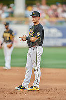 Matt Thaiss (17) of the Salt Lake Bees on defense against the Memphis Redbirds at Smith's Ballpark on July 24, 2018 in Salt Lake City, Utah. Memphis defeated Salt Lake 14-4. (Stephen Smith/Four Seam Images)