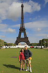 Beth and John at the Eiffel Tower, Champ du Mars, Paris, France.