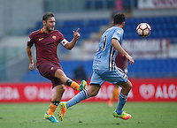 Calcio, Serie A: Roma vs Sampdoria. Roma, stadio Olimpico, 11 settembre 2016.<br /> Roma's Francesco Totti, left, is challenged by Sampdoria's Vasco Regini during the Italian Serie A football match between Roma and Sampdoria at Rome's Olympic stadium, 11 September 2016. Roma won 3-2.<br /> UPDATE IMAGES PRESS/Isabella Bonotto