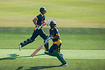 Captain Sarel Erwee and Somila Seyibokwe of South Africa run between the wickets during Day 1 of Hong Kong Cricket World Sixes 2017 Group A match between Hong Kong vs South Africa at Kowloon Cricket Club on 28 October 2017, in Hong Kong, China. Photo by Vivek Prakash / Power Sport Images