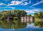 Deutschland, Bayern, Oberbayern, Ammersee, Diessen: Bootshaeuser | Germany, Bavaria, Upper Bavaria, Ammer Lake, Diessen: boathouse