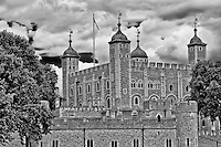 Looking at London Tower in England in black and white