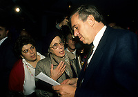 Montreal (Qc) Canada  file Photo - 1988 -- Ed Broadbent, New Democratic Party  (NPD) Leader<br /> <br /> PHOTO :  Agence Quebec Presse