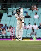8th January 2021; Sydney Cricket Ground, Sydney, New South Wales, Australia; International Test Cricket, Third Test Day Two, Australia versus India; Steve Smith of Australia plays a defensive shot