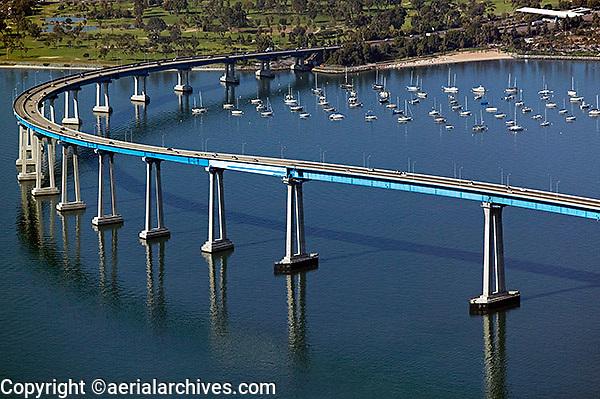 aerial photograph of the Coronado bridge, San Diego, California