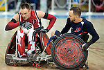 MISSISSAUGA, ON, AUGUST 12, 2015. Wheelchair Rugby - Canada vs USA in preliminary action. USA won the game 60-59 in double overtime - Fabien Lavoie.<br /> Photo: Dan Galbraith/Canadian Paralympic Committee