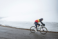 Belgian National Champion Dries De Bondt (BEL/Alpecin-Fenix) coming down the misty Passo Giau<br /> <br /> due to the bad weather conditions the stage was shortened (on the raceday) to 153km and the Passo Giau became this years Cima Coppi (highest point of the Giro).<br /> <br /> 104th Giro d'Italia 2021 (2.UWT)<br /> Stage 16 from Sacile to Cortina d'Ampezzo (shortened from 212km to 153km)<br /> <br /> ©kramon