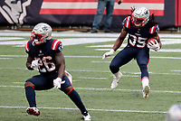 27th September 2020, Foxborough, New England, USA;  New England Patriots defensive back Kyle Dugger (35) returns a kick during the game between the New England Patriots and the Las Vegas Raiders