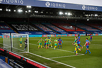10/13th March 2021; Selhurst Park, London, England; English Premier League Football, Crystal Palace versus West Bromwich Albion; Christian Benteke of Crystal Palace heads the ball above Darnell Furlong of West Bromwich Albion from a Crystal Palace corner kick