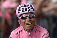 TRIESTE - ITALIA. 01-06-2014. Nairo Alexander  Quintana Rojas -Col- (Movistar)  celebra como campeón general de la versión 97 del Giro de Italia hoy 22 de mayo de 2014. / Nairo Alexander  Quintana Rojas -Col- (Movistar)celebrates as champion of the 97th version of Giro d'Italia today May 22th 2014 Photo: VizzorImage/ Fabio Ferrari / LaPresse<br /> VizzorImage PROVIDES THE ACCESS TO THIS PHOTOGRAPH ONLY AS A PRESS AND EDITORIAL SERVICE AND NOT IS THE OWNER OF COPYRIGHT; ANOTHER USE HAVE ADDITIONAL PERMITS AND IS  REPONSABILITY OF THE END USER