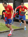 Spain's Pedro Rodriguez (l) and Jordi Alba during preparing training stage to Euro 2016. May 30,2016.(ALTERPHOTOS/Acero)